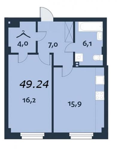 1-комнатная квартира на продажу (49,1 м<sup>2</sup>)