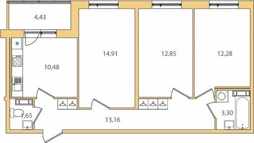 3-комнатная квартира на продажу (70,9 м<sup>2</sup>)