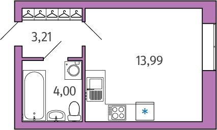1-комнатная квартира на продажу (21,2 м<sup>2</sup>)