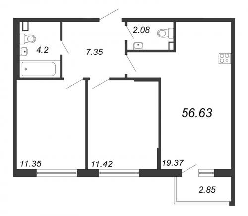 3-комнатная квартира на продажу (56,6 м<sup>2</sup>)