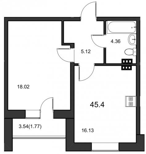 1-комнатная квартира на продажу (46,2 м<sup>2</sup>)