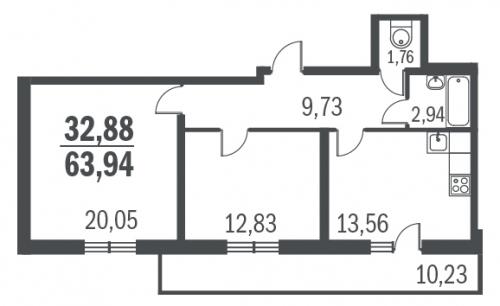 2-комнатная квартира на продажу (62,5 м<sup>2</sup>)