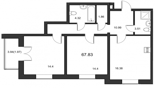 2-комнатная квартира на продажу (67,6 м<sup>2</sup>)