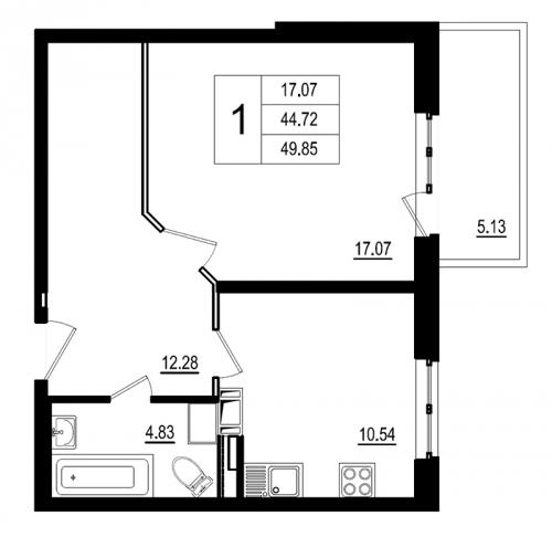 1-комнатная квартира на продажу (49,9 м<sup>2</sup>)