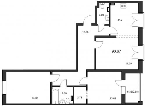 3-комнатная квартира на продажу (91,1 м<sup>2</sup>)