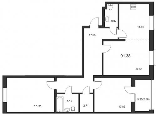 3-комнатная квартира на продажу (90,1 м<sup>2</sup>)