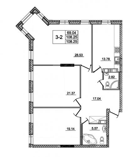 3-комнатная квартира на продажу (108,3 м<sup>2</sup>)