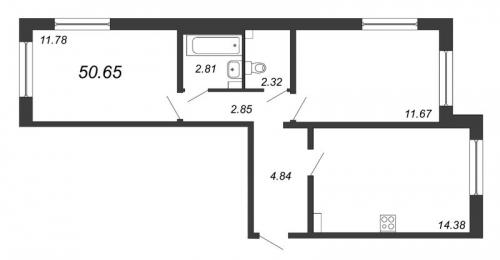 3-комнатная квартира на продажу (50,7 м<sup>2</sup>)