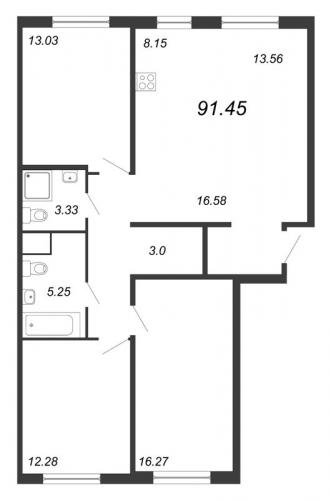 4-комнатная квартира на продажу (91,5 м<sup>2</sup>)