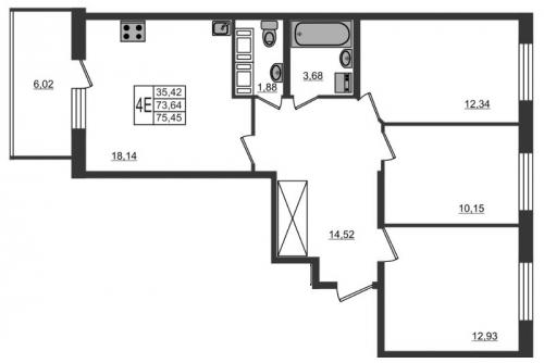 4-комнатная квартира на продажу (73,6 м<sup>2</sup>)