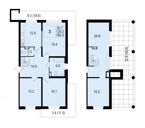 5-комнатная квартира на продажу (154,4 м<sup>2</sup>)