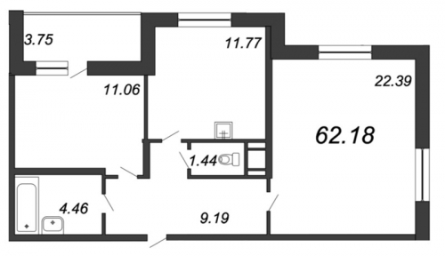 2-комнатная квартира на продажу (62,3 м<sup>2</sup>)