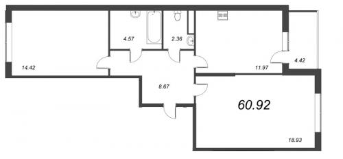 2-комнатная квартира на продажу (60,9 м<sup>2</sup>)