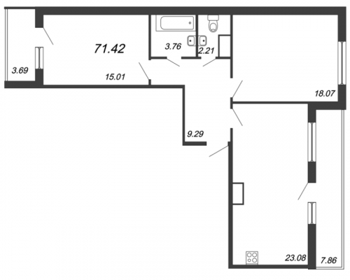 3-комнатная квартира на продажу (71,4 м<sup>2</sup>)