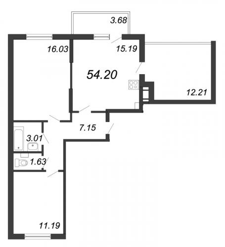 3-комнатная квартира на продажу (54,2 м<sup>2</sup>)