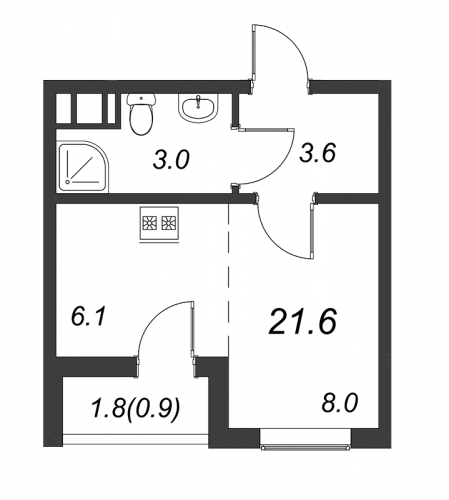Студия на продажу (21,6 м<sup>2</sup>)