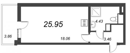Студия на продажу (26,0 м<sup>2</sup>)