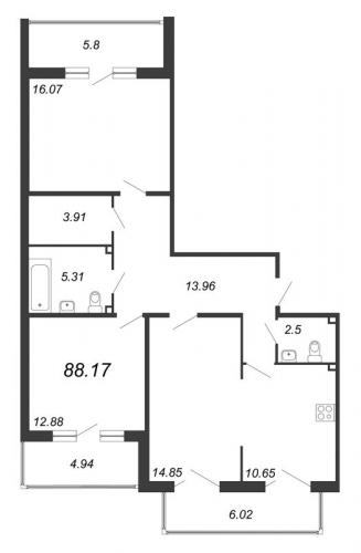 3-комнатная квартира на продажу (88,2 м<sup>2</sup>)