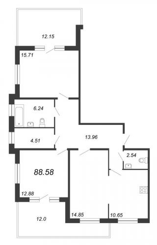 3-комнатная квартира на продажу (88,6 м<sup>2</sup>)