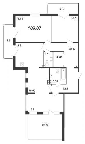 4-комнатная квартира на продажу (109,1 м<sup>2</sup>)