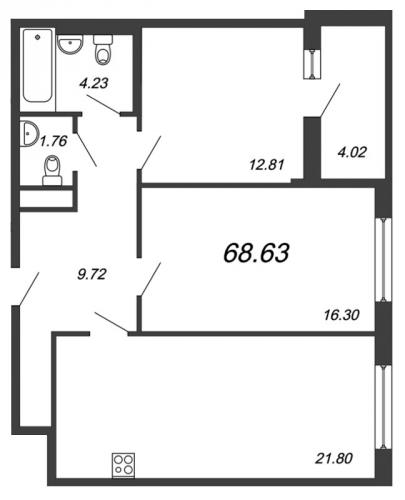 3-комнатная квартира на продажу (68,6 м<sup>2</sup>)