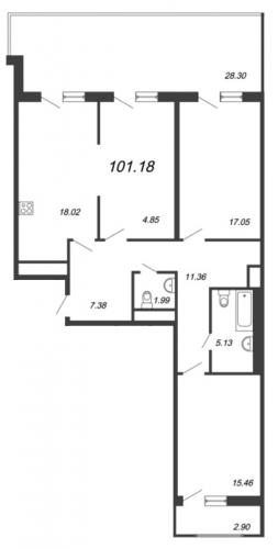 4-комнатная квартира на продажу (101,2 м<sup>2</sup>)
