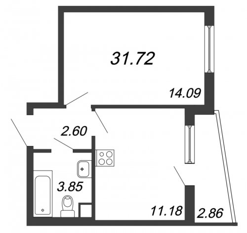 1-комнатная квартира на продажу (31,7 м<sup>2</sup>)