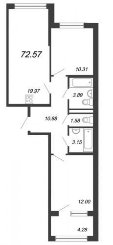 3-комнатная квартира на продажу (72,6 м<sup>2</sup>)