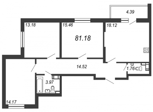 4-комнатная квартира на продажу (81,2 м<sup>2</sup>)