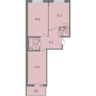 2-комнатная квартира на продажу (56,3 м<sup>2</sup>)