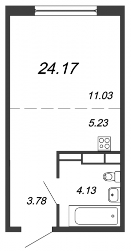 Студия на продажу (23,8 м<sup>2</sup>)