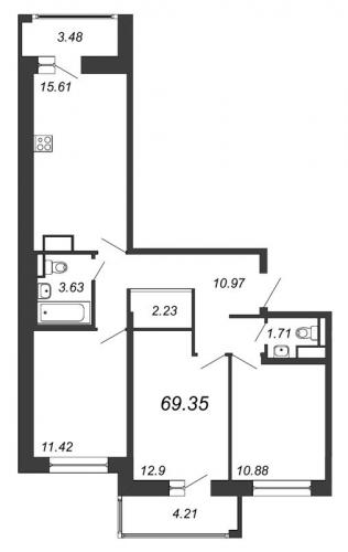 4-комнатная квартира на продажу (69,4 м<sup>2</sup>)