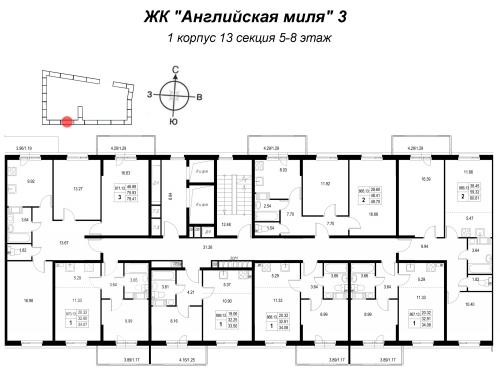 2-комнатная квартира на продажу (33,5 м<sup>2</sup>)