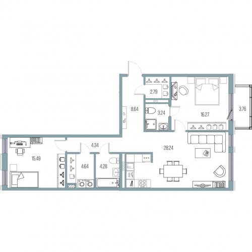 2-комнатная квартира на продажу (87,9 м<sup>2</sup>)