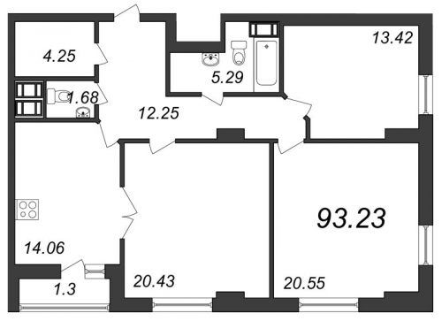 3-комнатная квартира на продажу (93,2 м<sup>2</sup>)