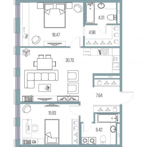 2-комнатная квартира на продажу (88,4 м<sup>2</sup>)