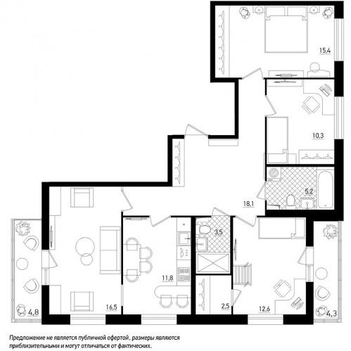 4-комнатная квартира на продажу (99,5 м<sup>2</sup>)