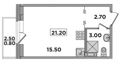 Студия на продажу (21,2 м<sup>2</sup>)