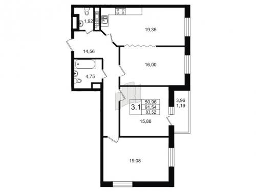 3-комнатная квартира на продажу (92,6 м<sup>2</sup>)