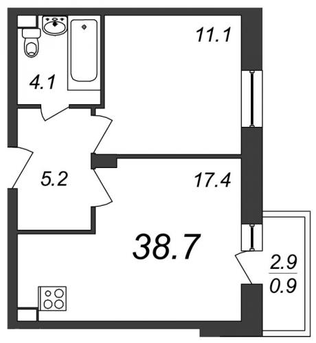 2-комнатная квартира на продажу (38,7 м<sup>2</sup>)