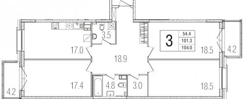3-комнатная квартира на продажу (101,4 м<sup>2</sup>)