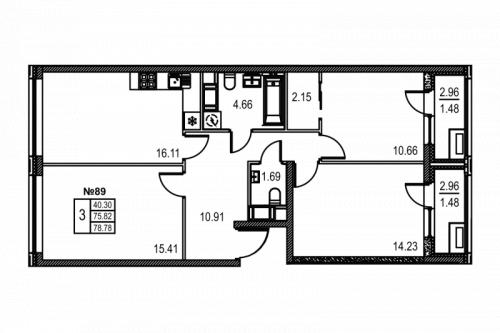 3-комнатная квартира на продажу (79,1 м<sup>2</sup>)