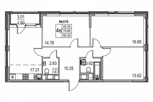 3-комнатная квартира на продажу (80,4 м<sup>2</sup>)