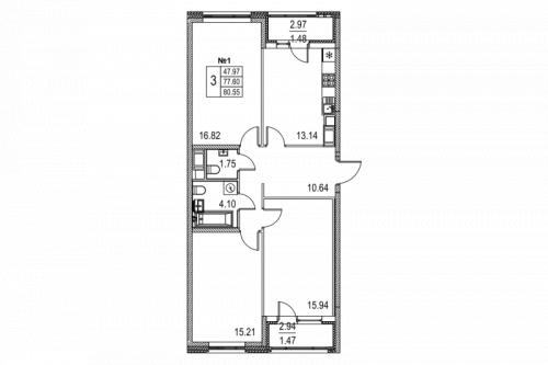 3-комнатная квартира на продажу (80,5 м<sup>2</sup>)