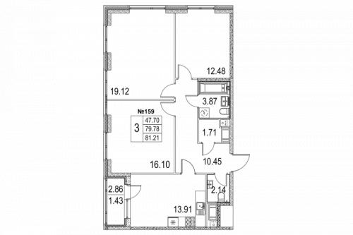 3-комнатная квартира на продажу (82,1 м<sup>2</sup>)