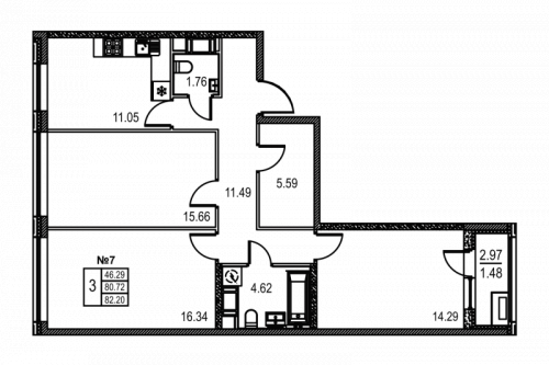 3-комнатная квартира на продажу (82,2 м<sup>2</sup>)