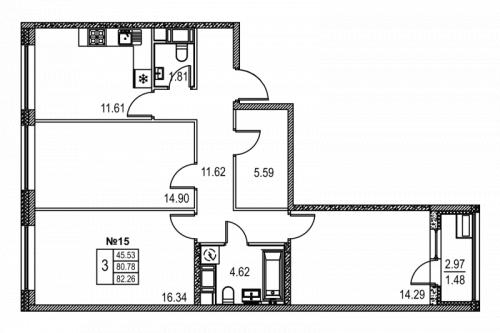 3-комнатная квартира на продажу (82,3 м<sup>2</sup>)