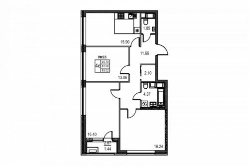 3-комнатная квартира на продажу (83,0 м<sup>2</sup>)