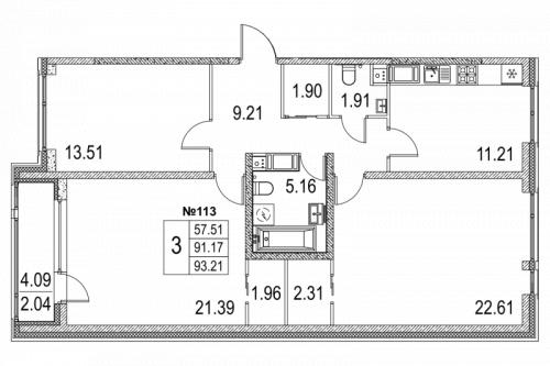 3-комнатная квартира на продажу (92,5 м<sup>2</sup>)