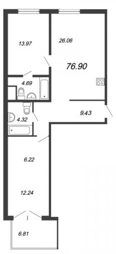 3-комнатная квартира на продажу (78,6 м<sup>2</sup>)